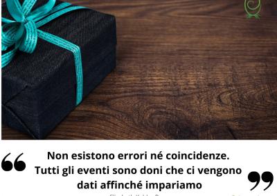 Non esistono errori né coincidenze. Tutti gli eventi sono doni che ci vengono dati affinché impariamo. - Elisabeth Kubler-Ross